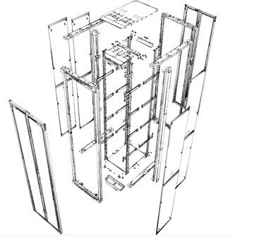 Vista de Rack aberto no solidedge